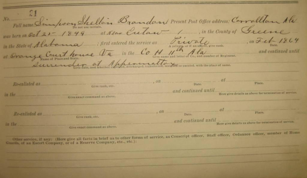 1907 Census of [Greene] Confederate Soldiers Living in